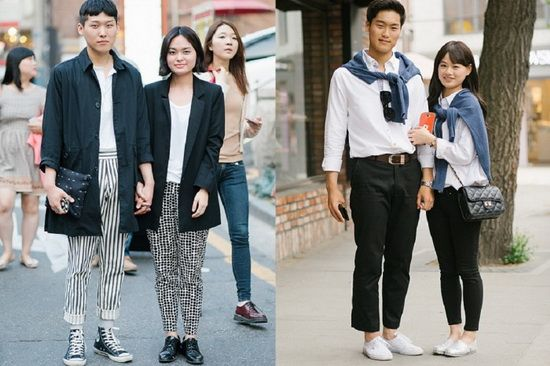 时髦情侣装 韩国情侣的夏日街拍